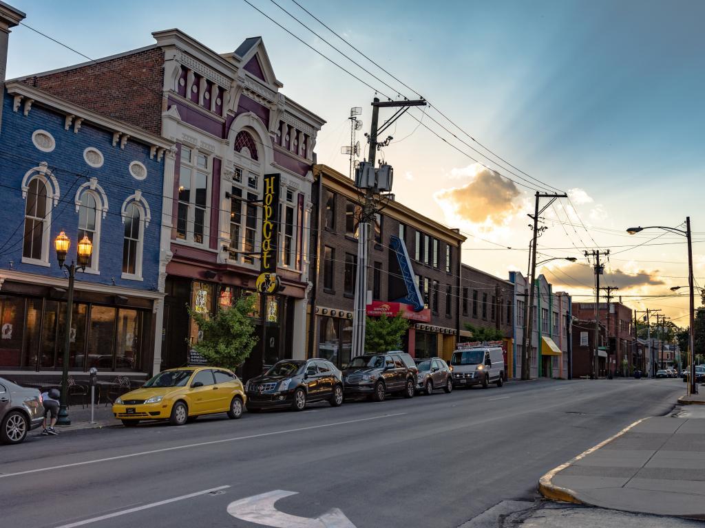 Historic buildings along Short Street in Lexington, Kentucky