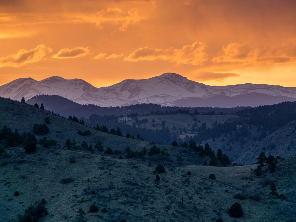 View of the sunset from Mount Falcon Park, just outside Morrison, Colorado