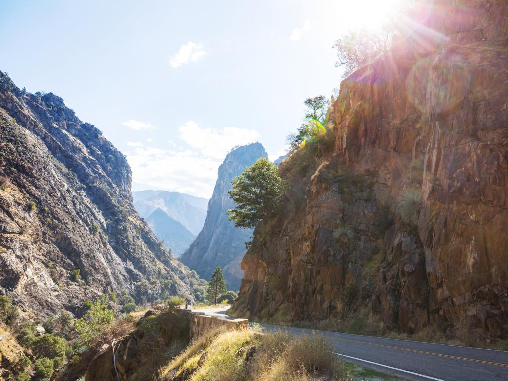 Road snaking through the Kings River Canyon in Kings Canyon and Sequoia National Parks, California