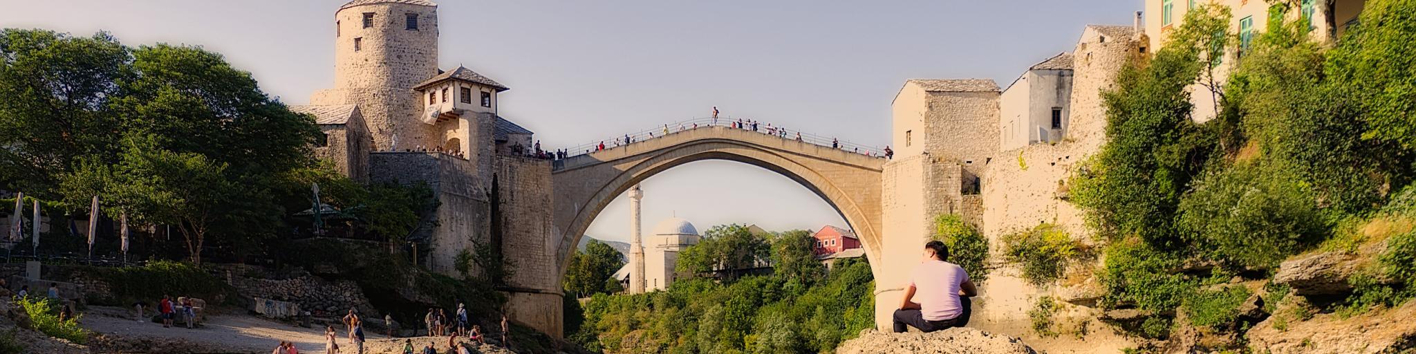 Stari Most (Old Bridge) over the river Neretva in Mostar, Bosnia