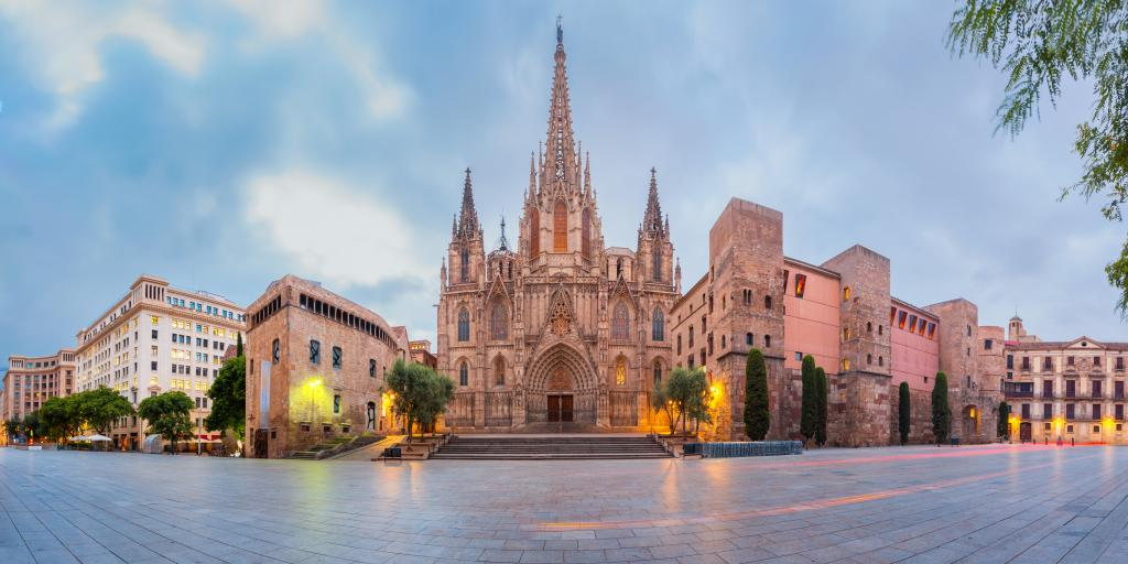 Cathedral of the Holy Cross and Saint Eulalia in Gothic Quarter in Barcelona