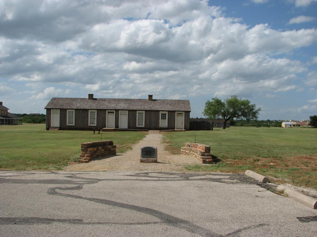 The marker in Fort Richardson State Historical Park in front of the Interpretive Center