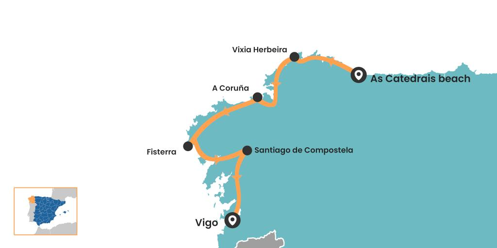 Galicia road trip map - Spain's north west corner coastal drive