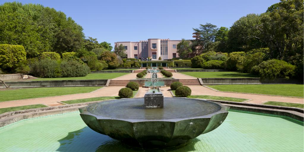 Fountain in front of Casa de Serralves in Porto, Portugal
