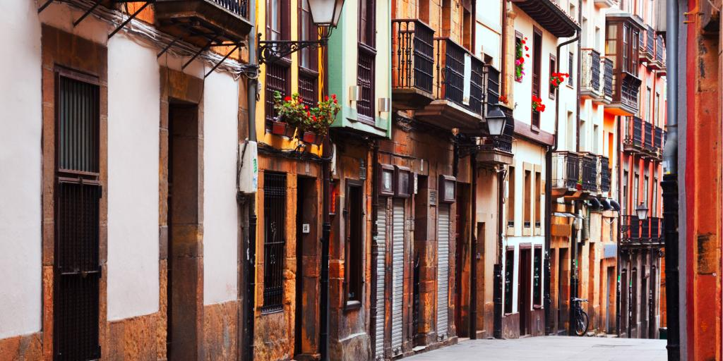 A narrow picturesque street in the old part of Oviedo in Spain