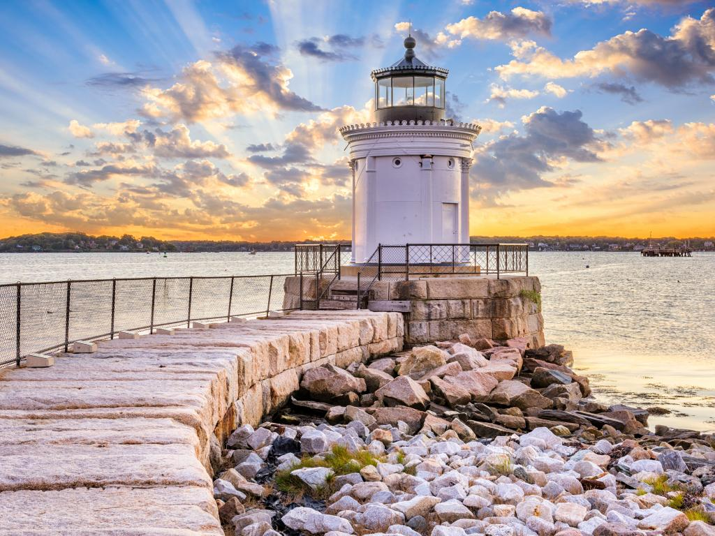 The iconic Portland Breakwater Light in Portland, Maine.