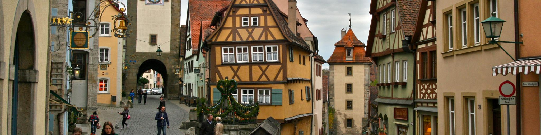 Timbered houses and cobbled streets in Rothenburg, Germany