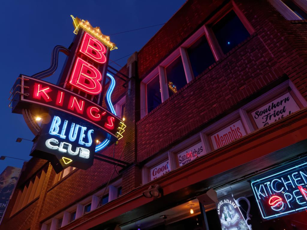 Sign outside B. B. King's Blues club on Beale Street in Memphis, Tennessee