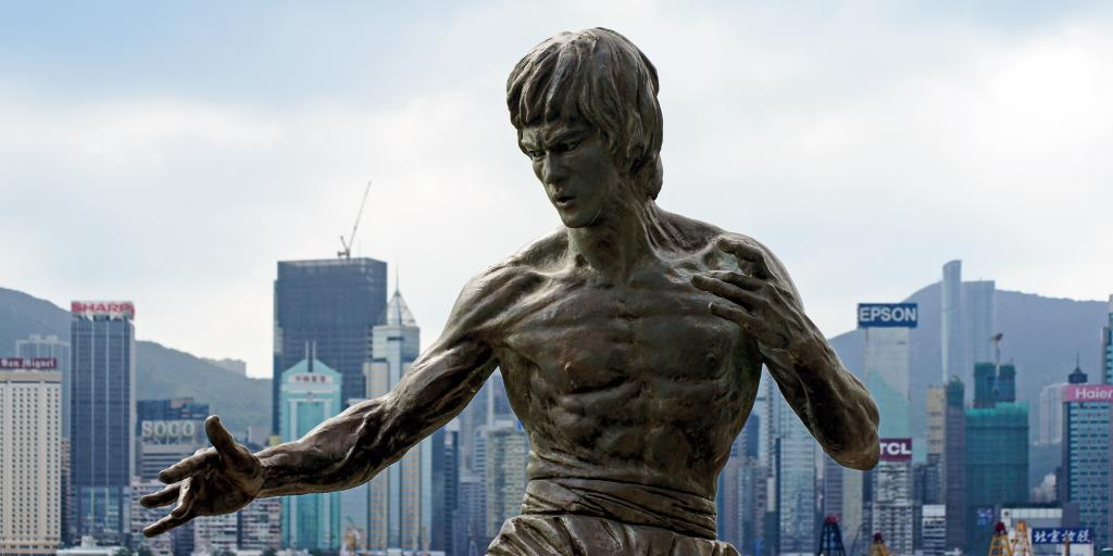 The torso and head of the statue of Bruce Lee on Avenue of Stars, Hong Kong