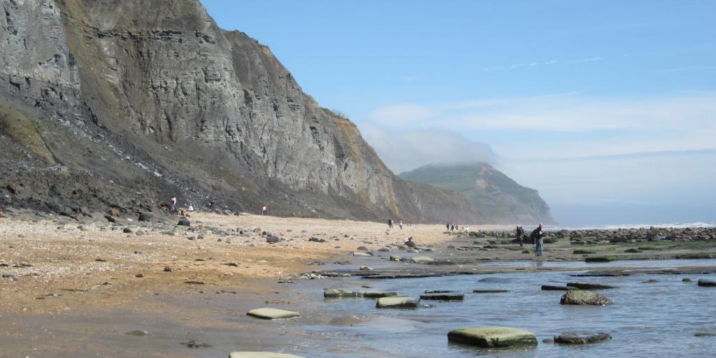 The beach in Charmouth, Dorset
