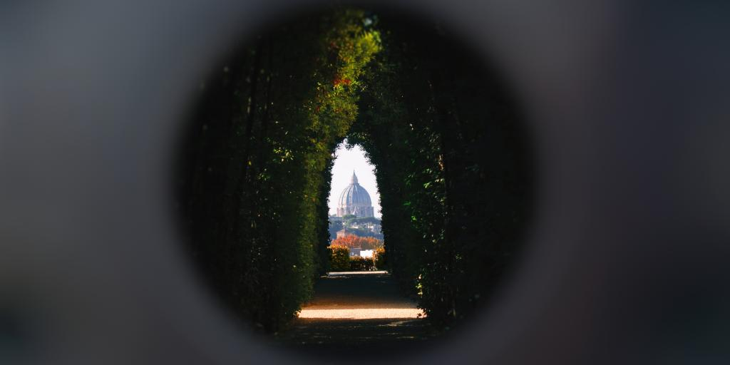 The view of St Peter's Basilica through Aventine Keyhole in Rome
