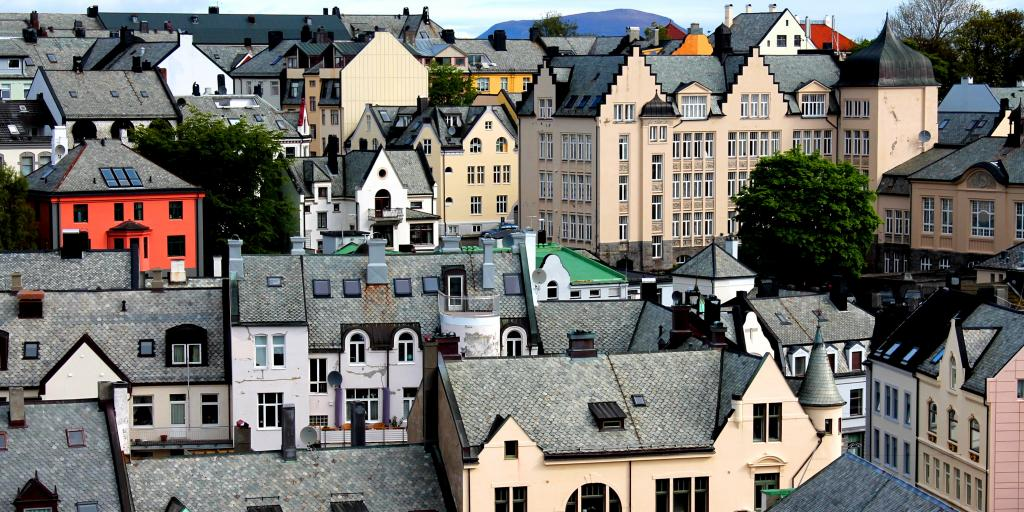 The colourful houses of Alesund in Norway