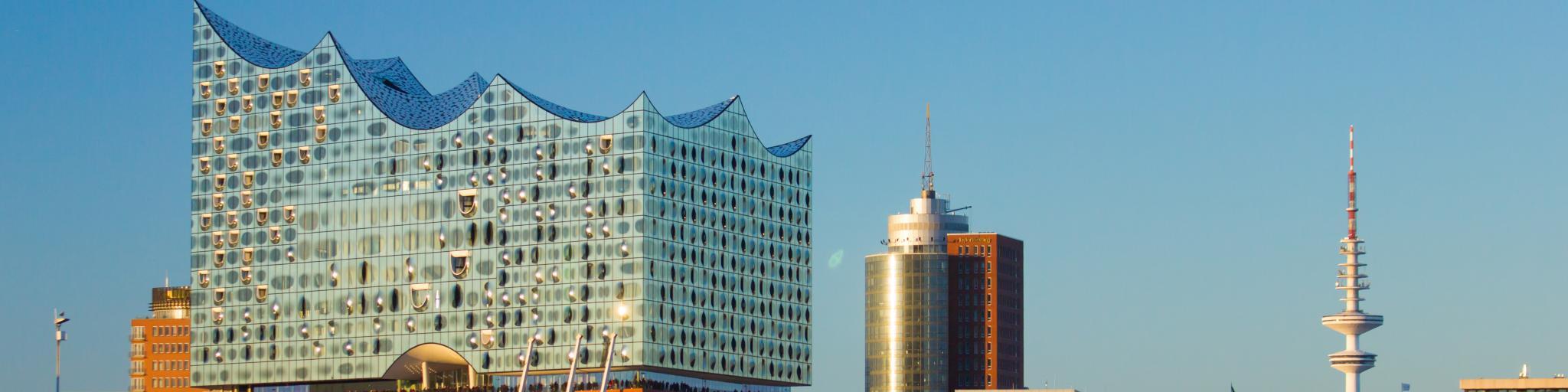 Hamburg's Elbphilharmonie opera hall glistens in the sunlight and overlooks the harbour
