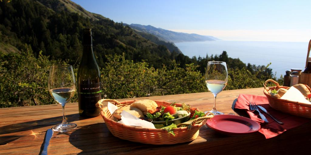 Wine and lunch with a view at Nepenthe restaurant in Big Sur, California