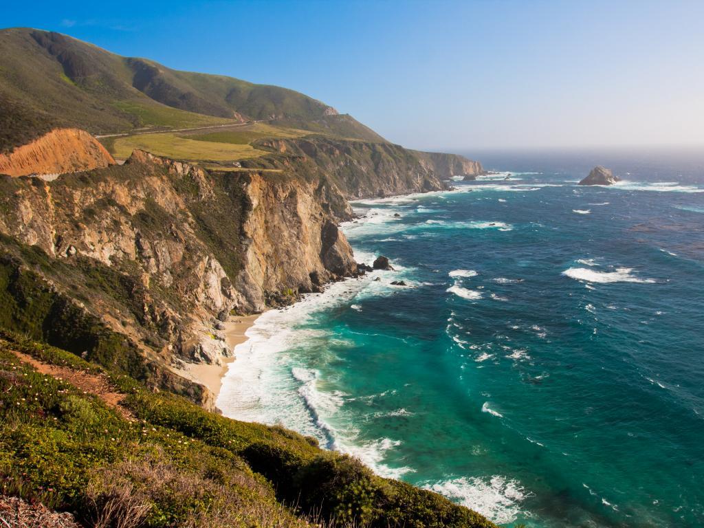 A rocky coastline along the Big Sur in California