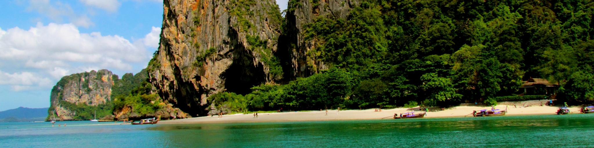 Sandy beaches, rocky cliffs and turquoise water in Phuket, Thailand