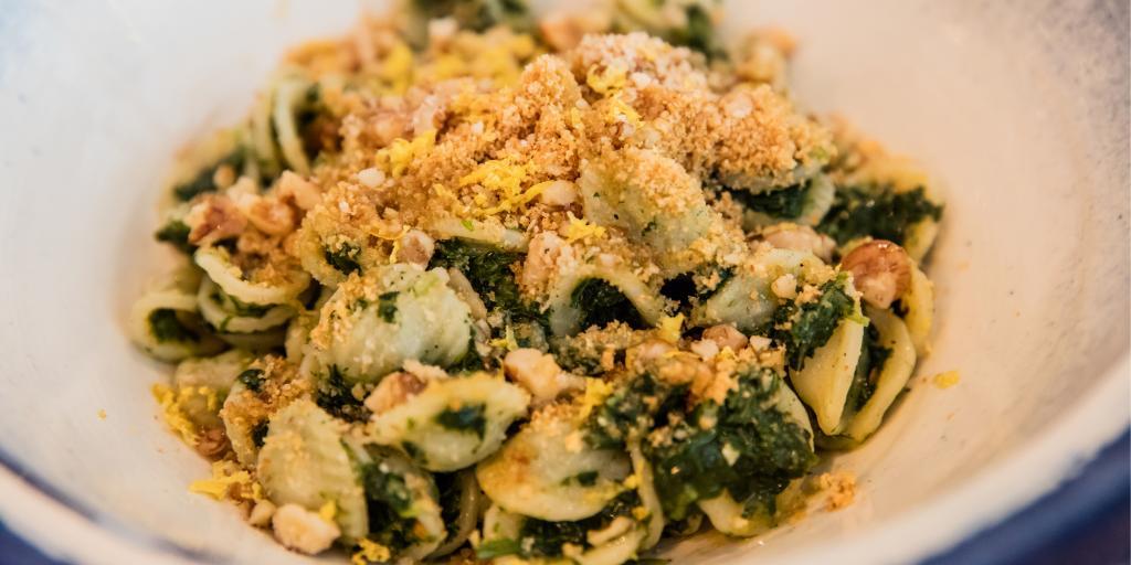 A dish of Orecchiette pasta with cime de rape in Ostuni