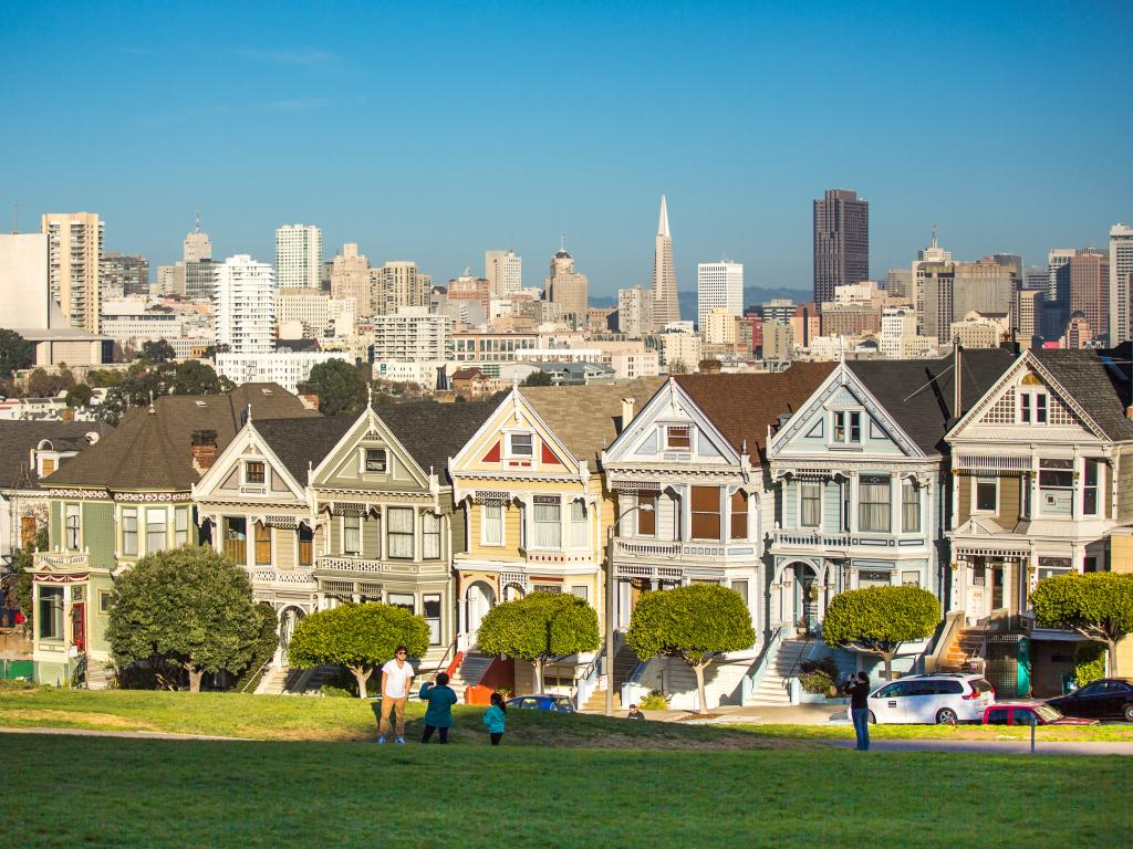 San Francisco's Painted Ladies buildings on a January morning with clear blue skies
