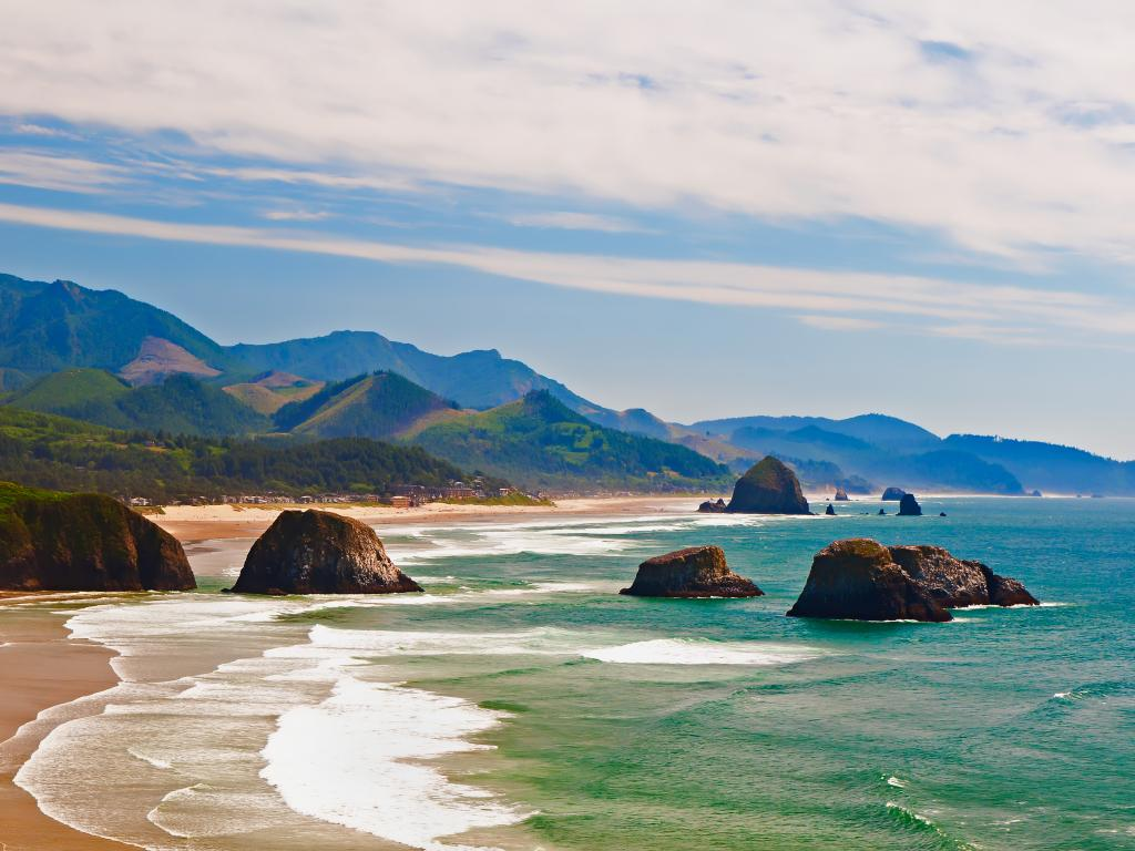 Cannon Beach in Oregon is one of the many stunning places to explore nature on the way up the Pacific Highway.