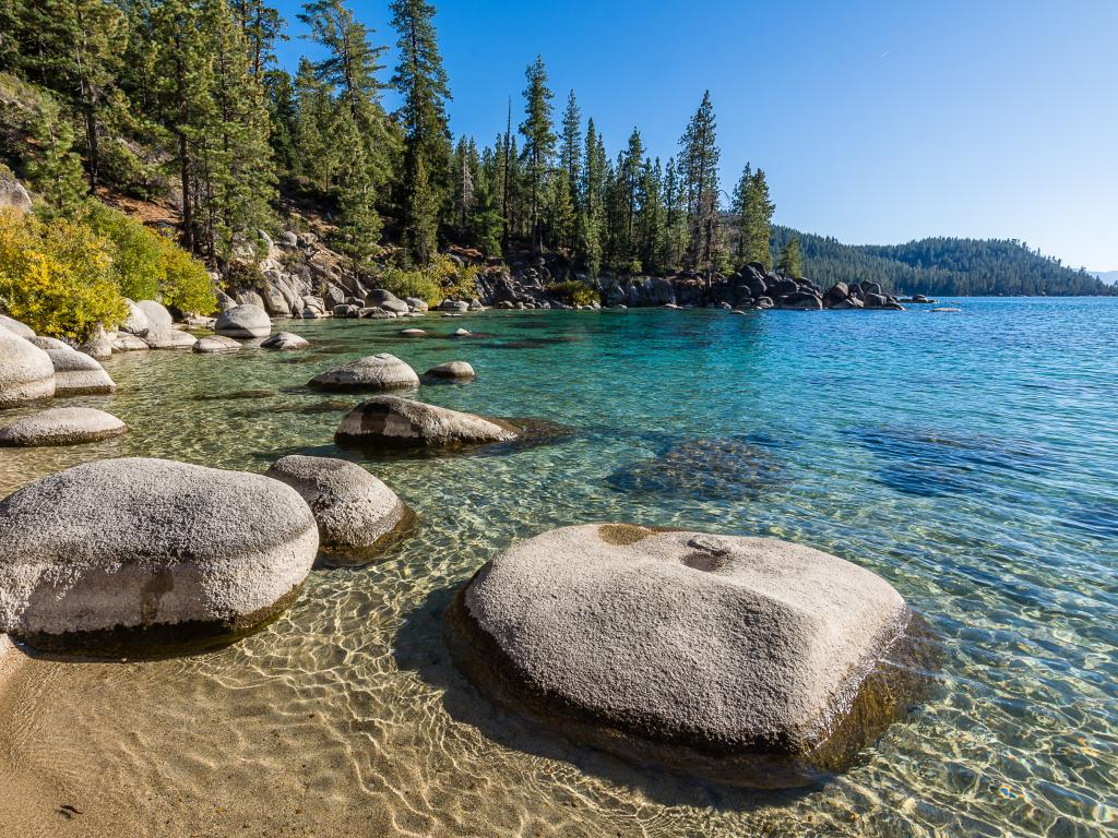 Lake Tahoe shoreline with boulders and pine trees in California.