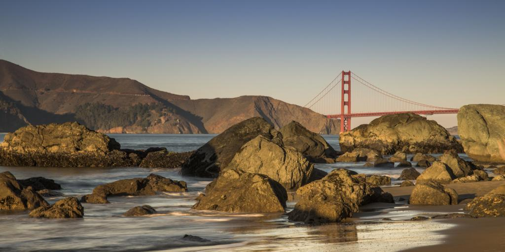 View of Golden Gate Bridge from Lands End along the 49 Mile Scenic Drive in San Francisco.