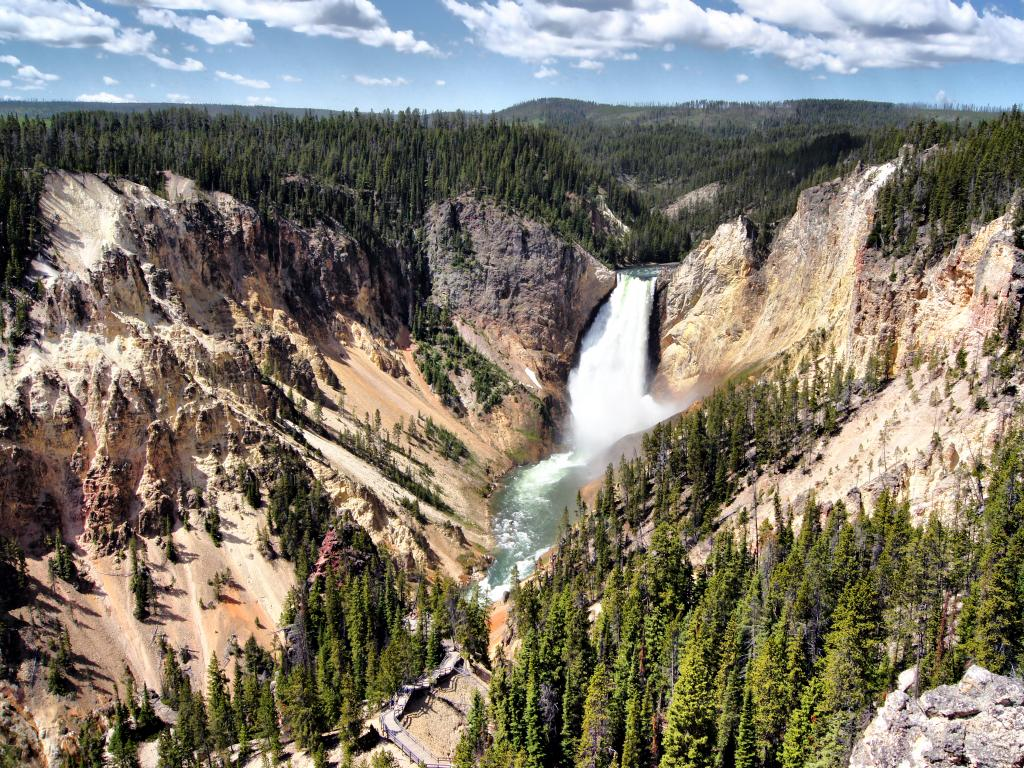 An aerial view of the upper falls in Yellowstone National Park.