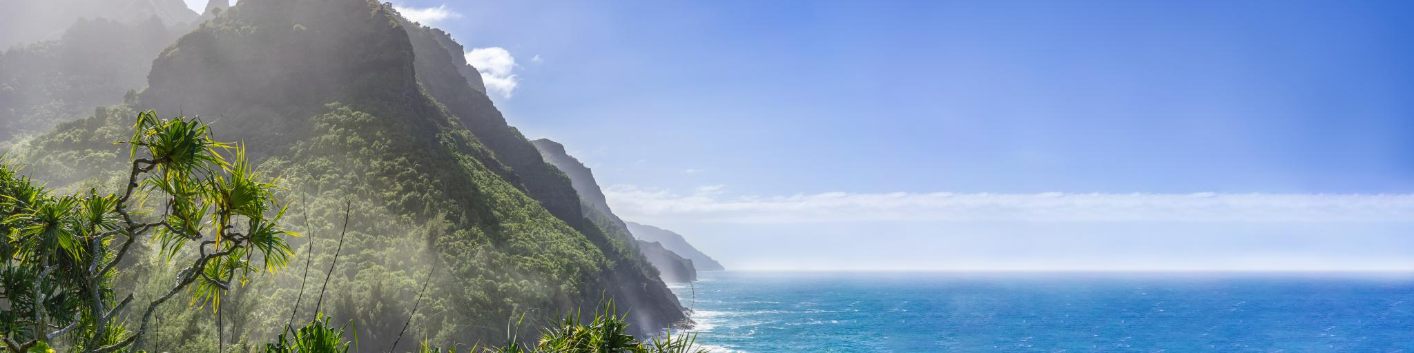 Cliffs facing the ocean in Na Pali Coast State Park on Kauai island in Hawaii