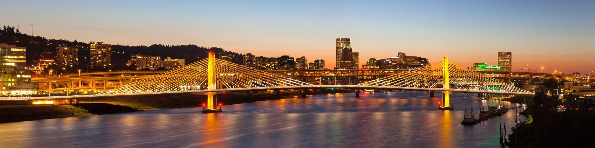 Tilikum Crossing Bridge with Portland Oregon Downtown City