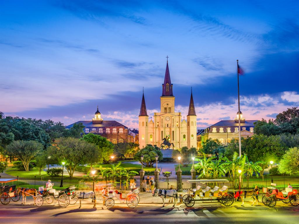 St. Louis Cathedral and Jackson Square in New Orleans, Louisiana