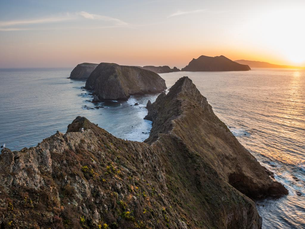 A view of the Channel Islands National Park from the Anacapa Island at sunset.