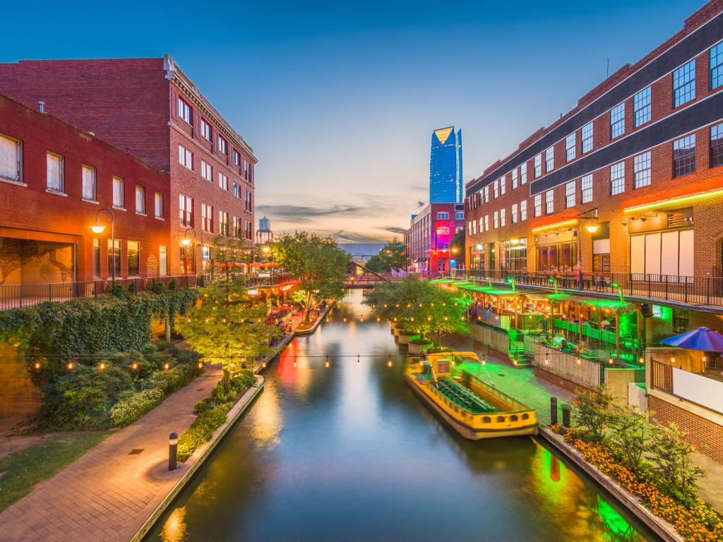 A canal in the Bricktown neighborhood in Oklahoma City in the evening.