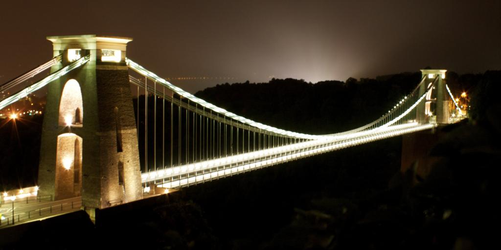Clifton Suspension Bridge lit up at night, Bristol