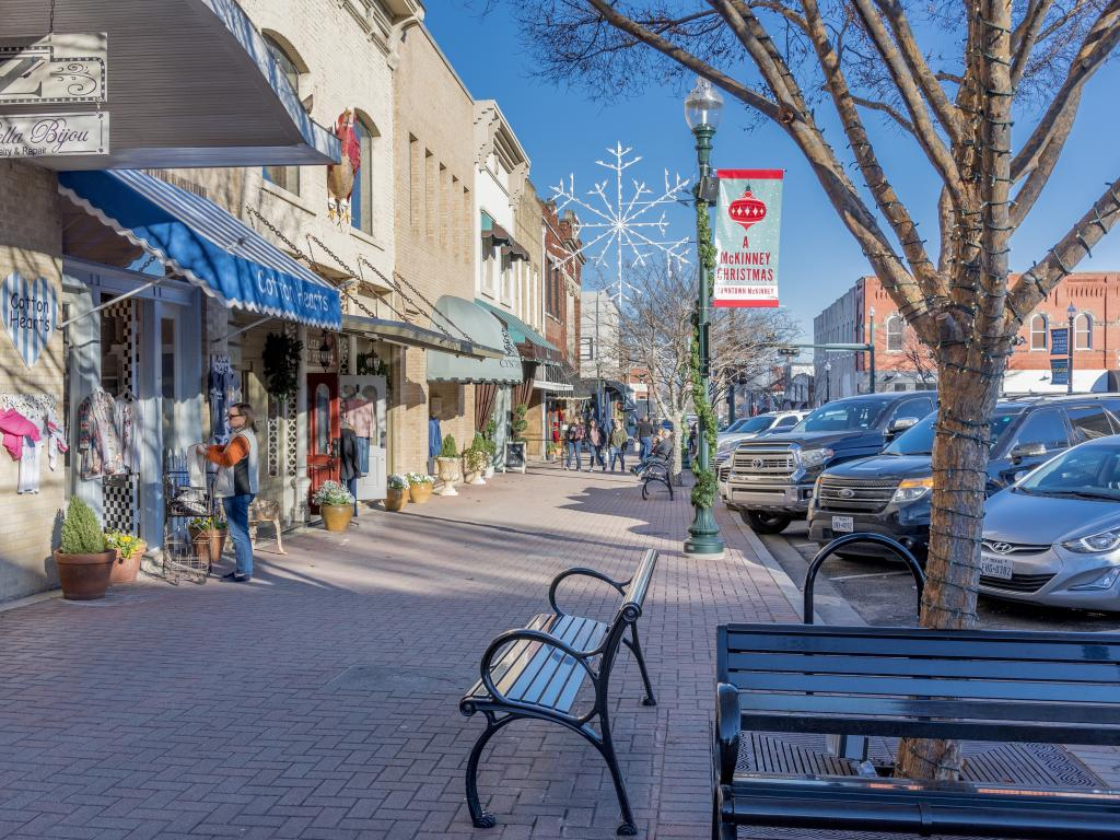Stores in downtown McKinney, Texas on a sunny day.