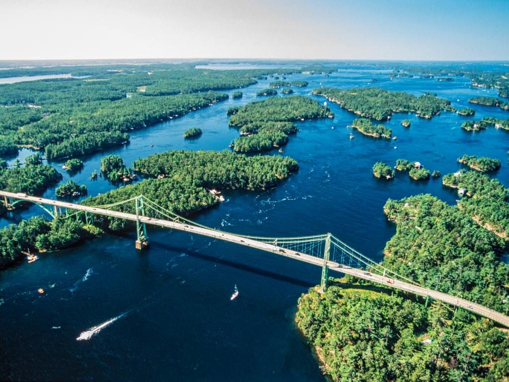 Bridge across the Thousand Islands area on the Ontario, Canada side.