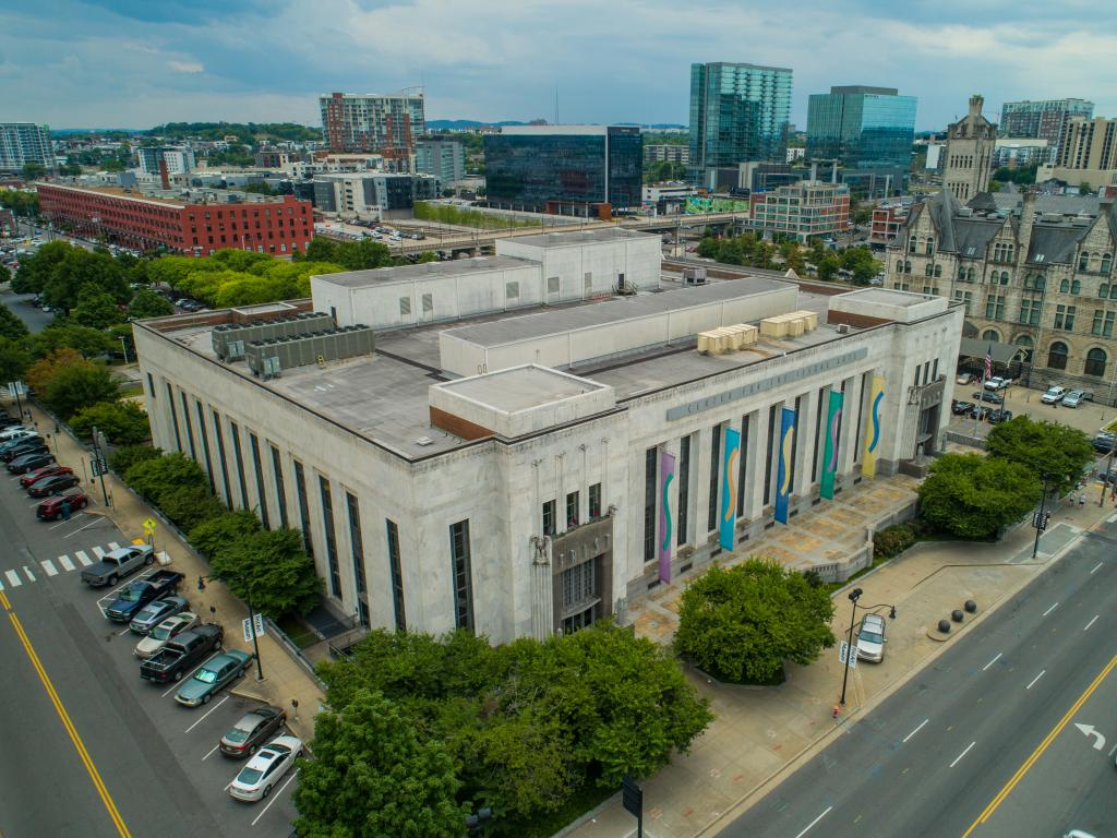 An aerial view of the Frist Center for the Visual Arts in Nashville, Tennessee