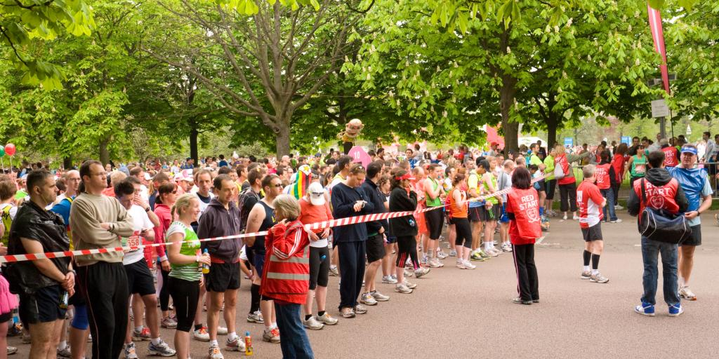 Runners waiting at one of the London Marathon start lines in Greenwich Park