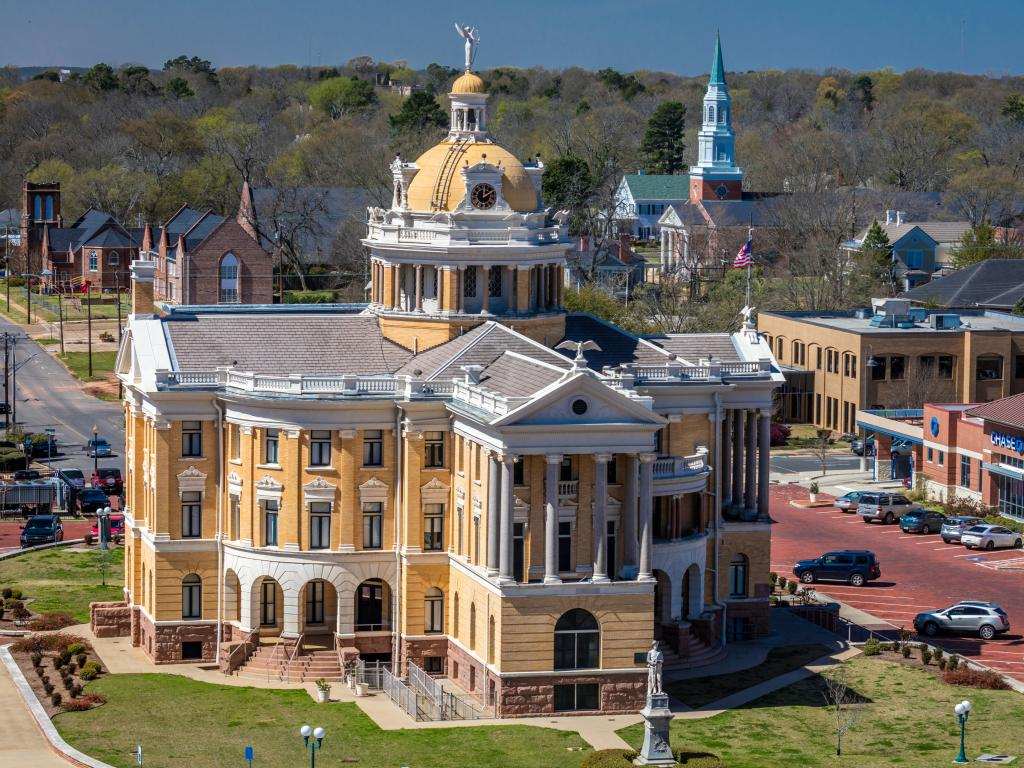 Harrison County Courthouse and a town square in Marshall, Texas