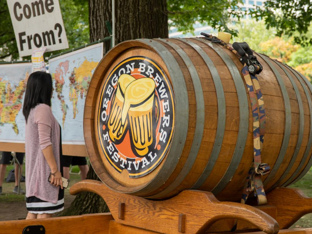 A large barrel of beer at the Oregon Brewers Festival in Portland that happens every July