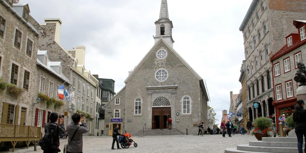 Notre-Dame-des-Victoires Church in Place Royale square, Quebec