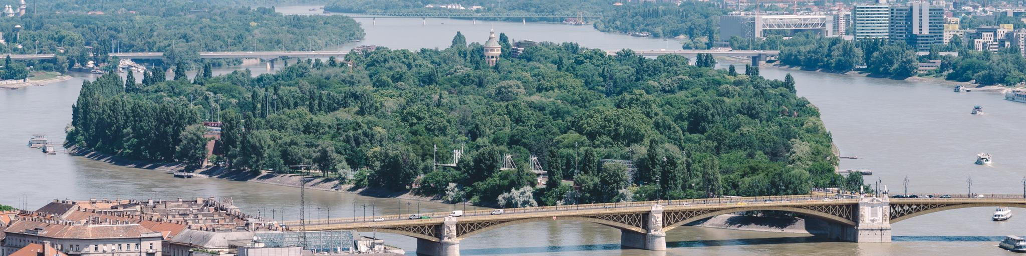 The verdant Margaret Island sits in the Danube River between Buda and Pest