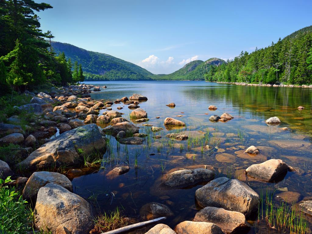 Jordan Pond and Bubble rocks in Acadia National Park, Maine.