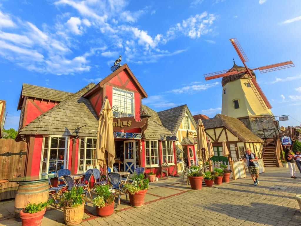 Old Windmill set in a pretty street in Solvang, California