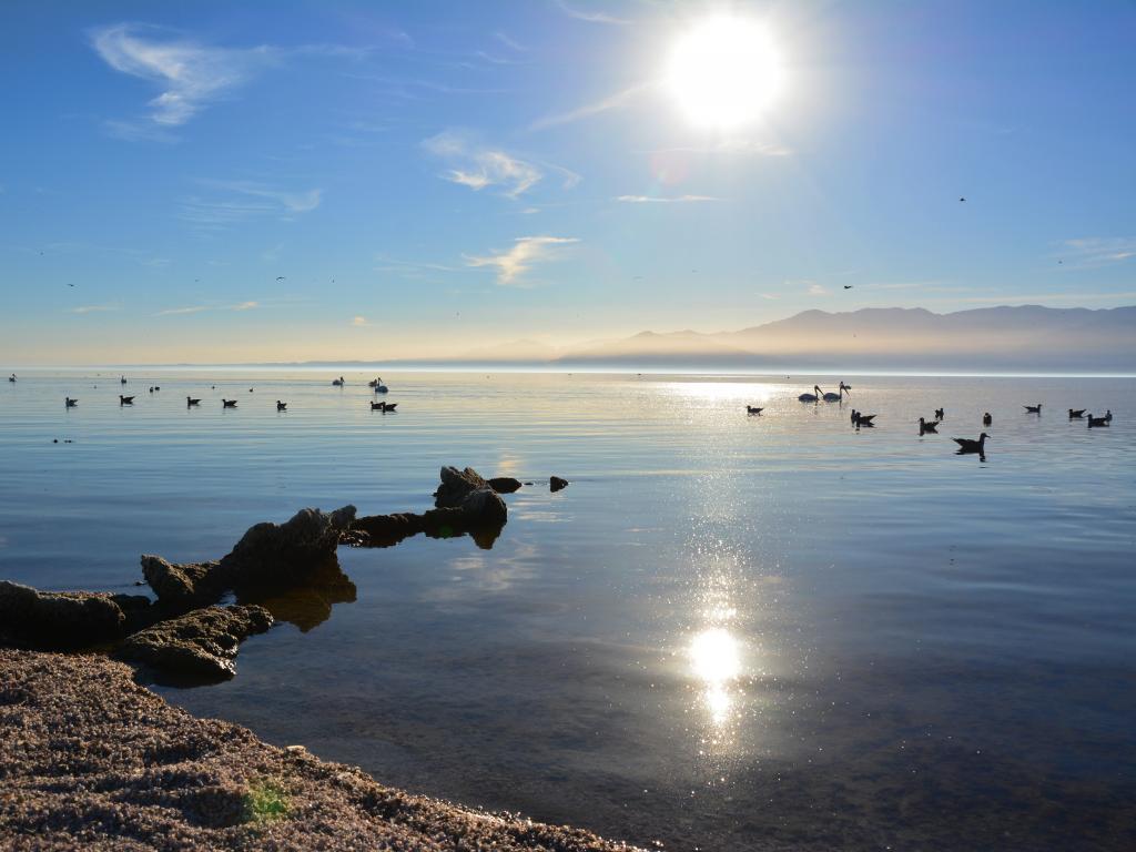 A view across Salton Sea, California at sunset