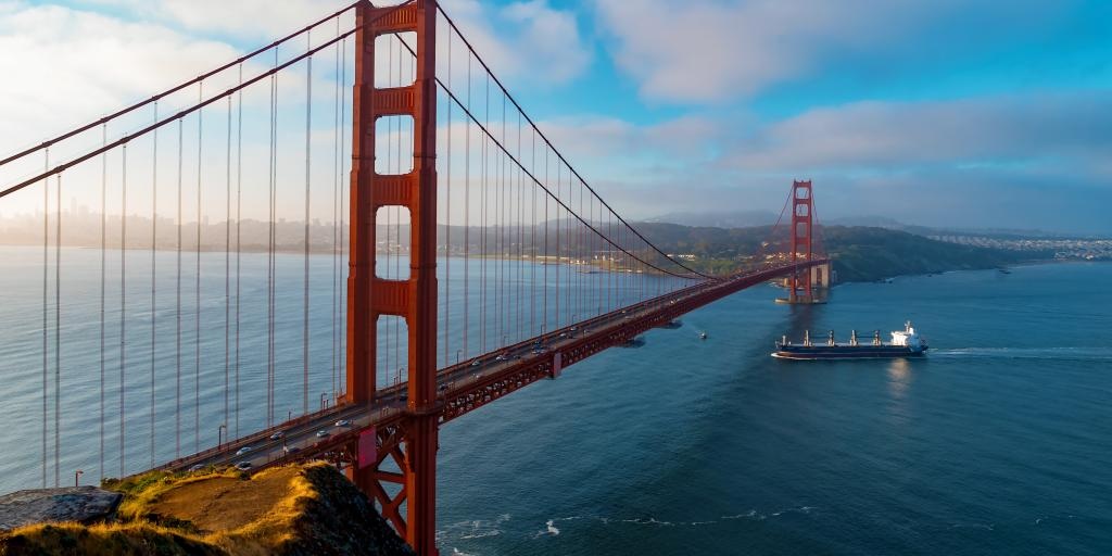 The iconic Golden Gate Bridge stretching away from San Francisco in California.