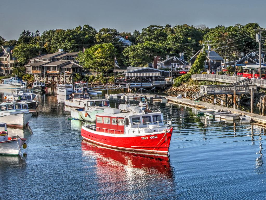 Boats in Perkins Cove fishing village in Ogunquit, Maine.