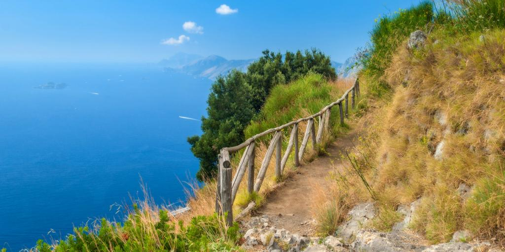 Path of the Gods with blue sea and blue sky in distance, Amalfi Coast