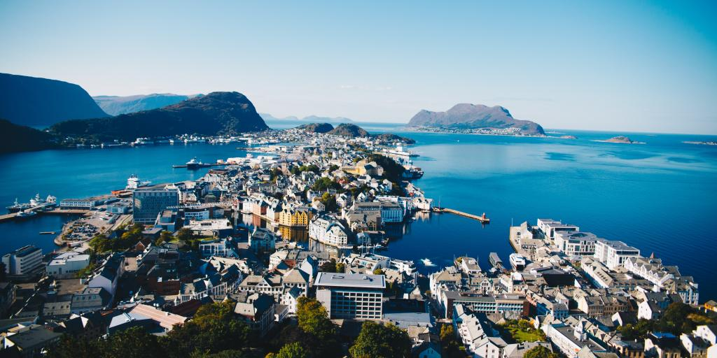 A view from up high of the port city of Alesund, Norway