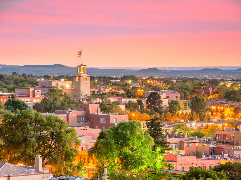 Skyline of downtown Santa Fe, NM at sunset