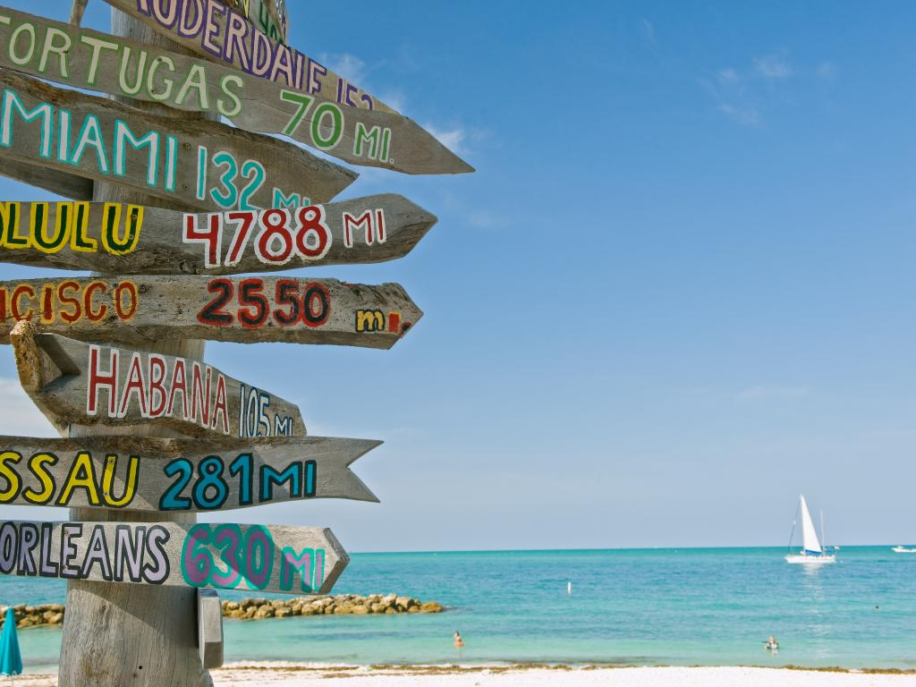 An image with a post that has the names of the places included in Florida Keys. On the background is a small boat on the upper right floating on the blue sea during a sunny day.