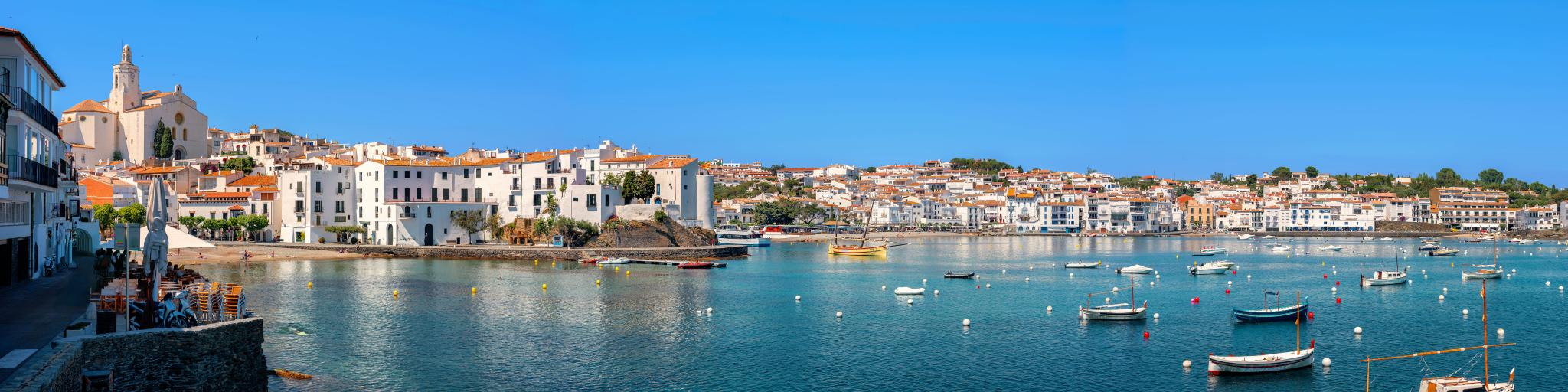 Panoramic view of Cadaques on Spain's Mediterranean seaside of Costa Brava